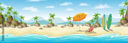 Ilustracja tropikalnych przybrzeżnych krajobraz z deckchair, parasol i deska surfingowa
