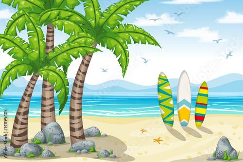 plakat,-ocean,-palmy,-tropikalny-krajobraz