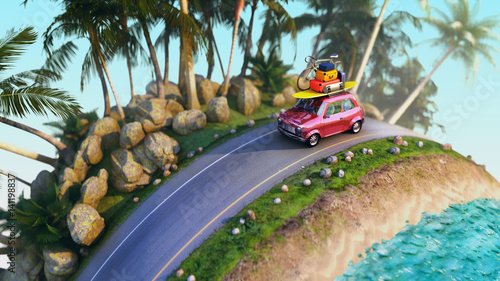 car for traveling with a roof rack on a mountain road. 3d illustration - 141198837