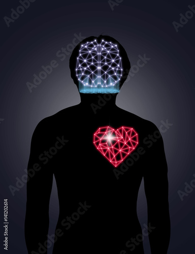 Silhouette of human body with technology line and dot of polygonal shape brain a Poster