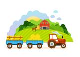 Farm and farmland, the village with gardens, greenery, harvest, grain.