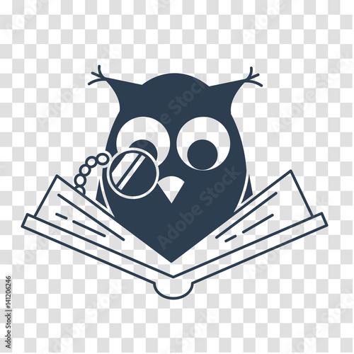 Fotobehang Uilen cartoon silhouette concept of loving reading
