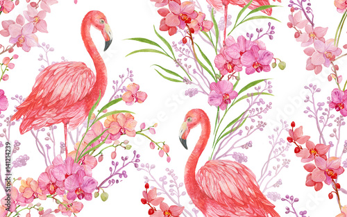 seamless pattern floral background bird pink Flamingo and Orchid - 141214239