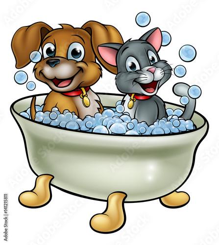 Cartoon Cat and Dog Washing in Bath