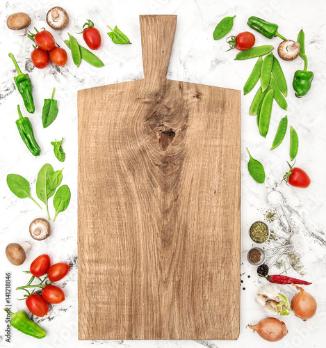 Cutting board and vegetables Healthy food detox clean eating