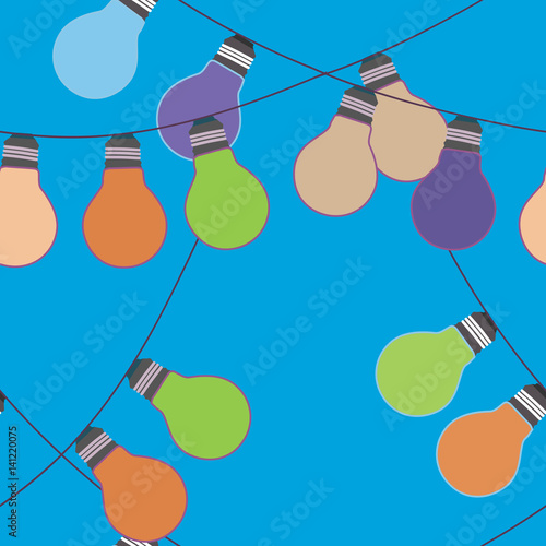 Vector seamless festive background with a pattern of color garlands light bulbs