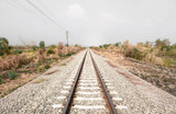 Railroad with vanishing point, parallel and infinity, railway background