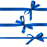 Set of beautiful decorative bows with horizontal ribbon for gift decoration. Vector blue bow isolated on white - 141224011