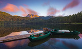 colored clouds in the morning on the lake Black in the national park Durmitor, Montenegro