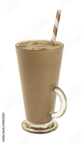 iced coffee in a tall glass isolated on a white background