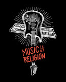 music is my religion - crossed guitar and synthesizer grunge rock music print