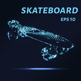 The skateboard is made of points, lines and triangles. The polygon shape in the form of a silhouette of a skateboard on a dark background. Vector illustration. Graphic concept skateboard