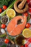 Salmon steak and ingredients