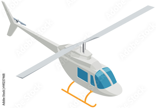 Fototapeta Isometric Helicopter on White Background.