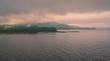 Sunrise in Ketchikan Gateway fjord with storm clouds