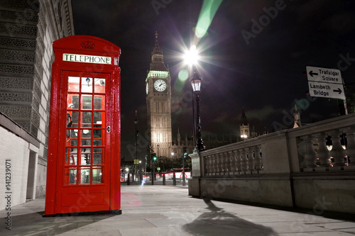 Big Ben behind a telephone booth in London Poster
