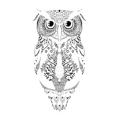Vector black hand drawn tribal patterned Owl Illustration