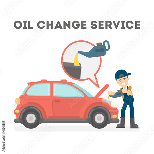 Oil change service on white background. Car service.