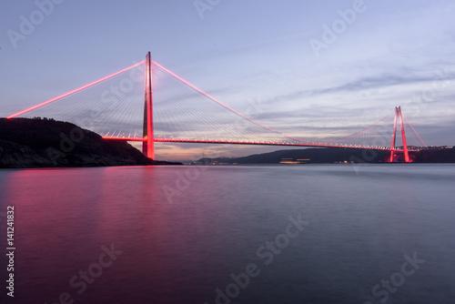 Leinwand Poster New bridge of Istanbul, Yavuz Sultan Selim Bridge with long exposure