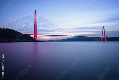 New bridge of Istanbul, Yavuz Sultan Selim Bridge with long exposure Poster