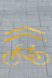 ellow bicycle road sign painted on the road