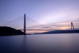 New bridge of Istanbul Bosphorus, Yavuz Sultan Selim Bridge with long exposure on sunset