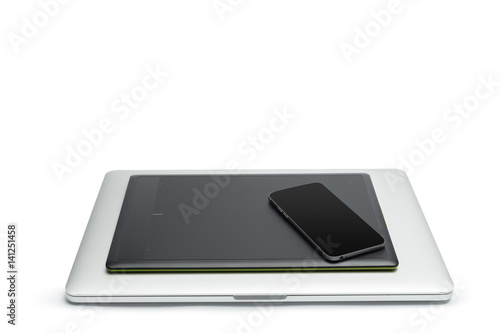 Poster Graphic tablet with pen and computer for illustrators and designers, isolated on