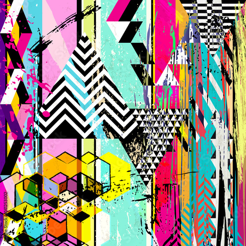 Aluminium Abstract met Penseelstreken abstract background, with triangles, stripes, strokes and splashes