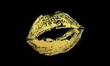 Fototapety Gold kiss lips imprint vector golden glitter lipstick print