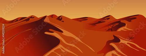 Foto op Canvas Baksteen The desert day. The horizontal format. Adobe Illustrator EPC 10. Realistic vector