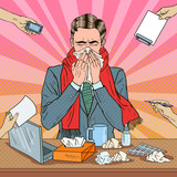 Fototapety Pop Art Businessman Sneezing at Multi Tasking Office Work. Man with Flu. Vector illustration
