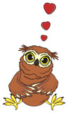 animal, bird, fly, night, owl, beak, smart, cartoon, sit, funny, claws, mind, brown, yellow eyes, in love, red, hearts