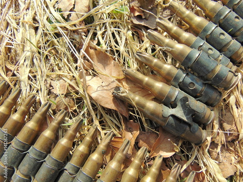 ammunition from World War 2 laying in straw Poster