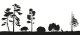 Black silhouette of forest trees on a white background. Panorama of forest with animals. Landscape of wild nature