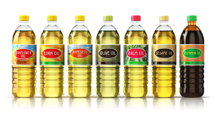 Set of plasic bottles with vegetable cooking oils