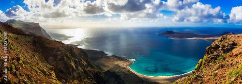 Fotobehang Freesurf Canary island Lanzarote - breathtaking panoramic view from Mirador del Rio