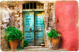 Colorful pictorial old streets of Greek islands, Crete