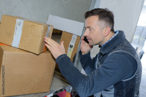 handsome deliveryman checking load talking on the phone Poster