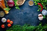 Big set organic food. Fresh raw vegetables. On a black chalkboard. - 141279447