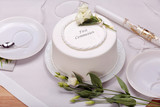 first holy communion cake on the table - 141280063