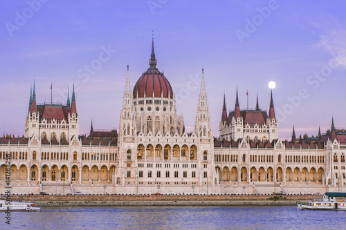 Poster hungarian parliament at sunset