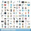100 internet icons set, cartoon style