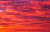 Beautiful fiery orange sky during sunset or sunrise.