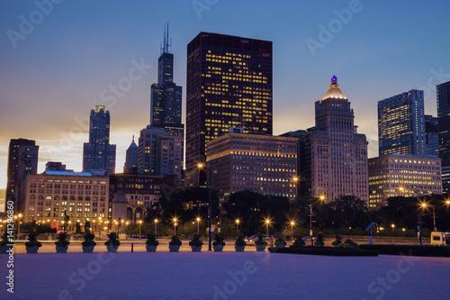 Poster Chicago Skyline of Chicago at sunset