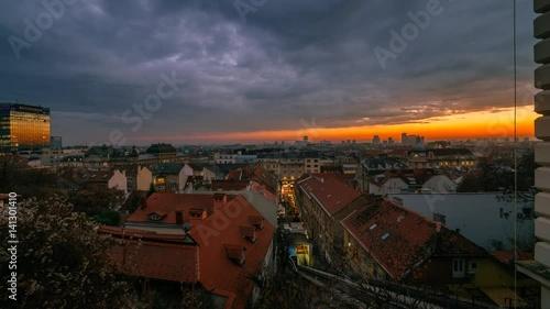 Foto op Plexiglas Kiev Day to night transition sunset timelapse near Zagreb Funicular. Advent.