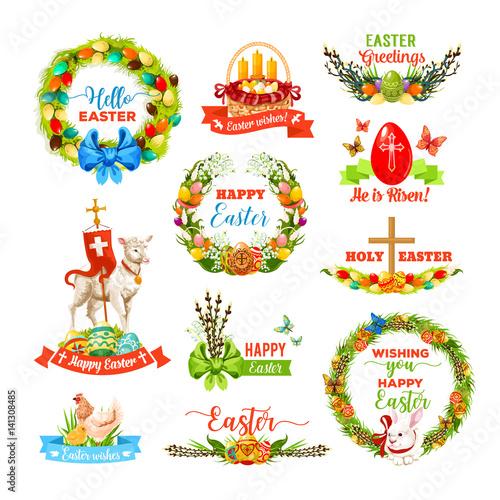 Easter icon set with cartoon holiday symbols