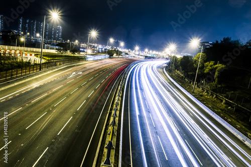 Deurstickers Nacht snelweg Traffic light trails
