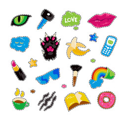 Fashion patch badges with lips, cat paw, cat eye and other elements