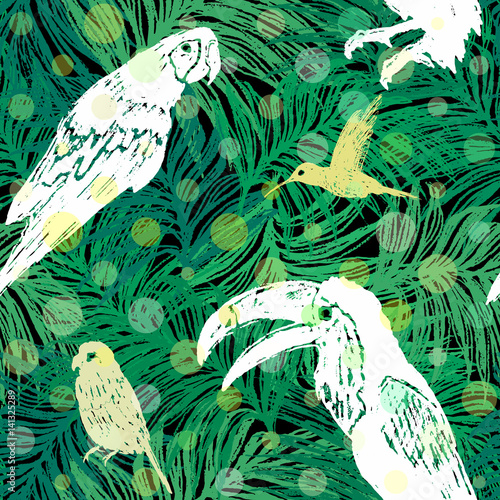 Materiał do szycia Ink hand drawn Jungle seamless pattern with Birds on Palm leaves background