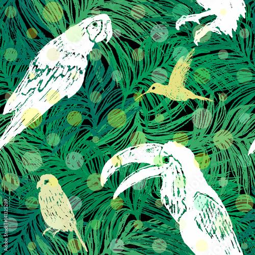 Materiał do szycia Atrament ręcznie rysowane dżungli wzór z ptaków na Palm pozostawia tło